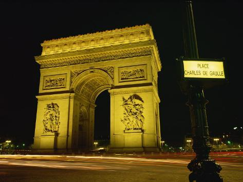 place charles de gaulle street sign and the arc de triomphe