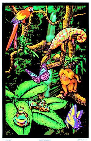 Rainforest Flocked Blacklight Poster Art Print Mustavalojuliste