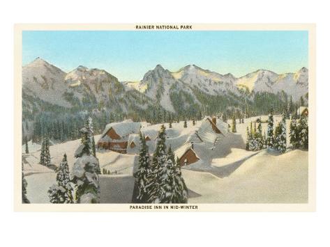 Rainier National Park in Winter, Washington Art Print