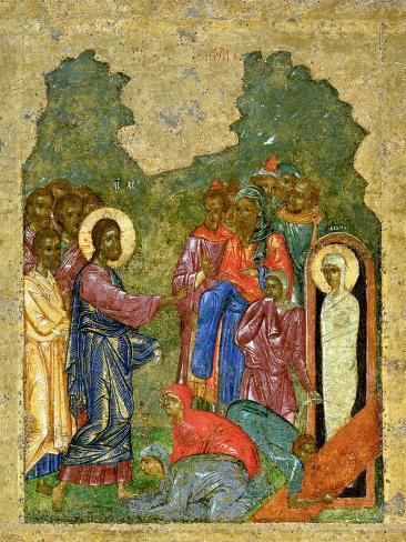 Raising of Lazarus, Russian Icon, Cathedral of St. Sophia, Novgorod School, 14th Century Giclee Print