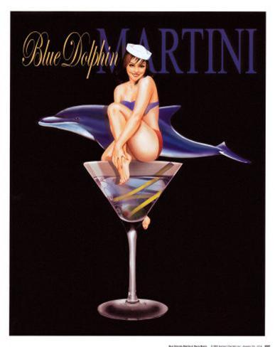 Blue Dolphin Martini Art Print