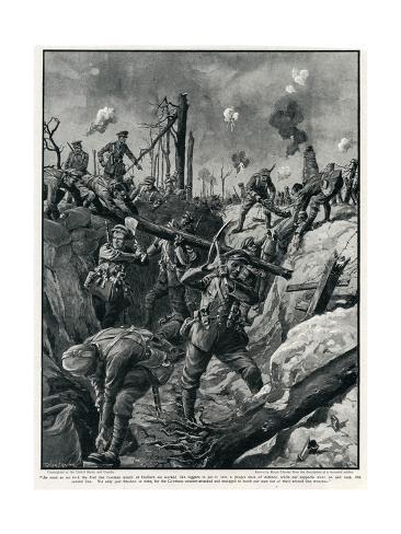 British Refashioning a German Trench, WW1 Stampa giclée