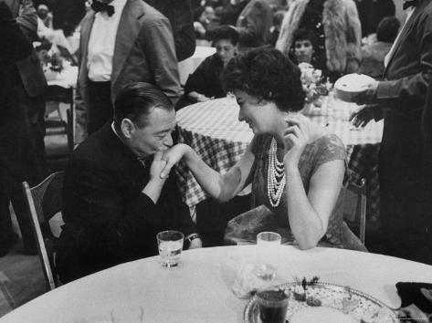 Actress Sophia Loren Attending Party at Table with Petere Lorre Premium Photographic Print