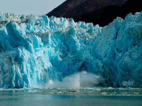 Blue Ice Calving Along Glacier Front of South Sawyer Glacier, Alaska Photographic Print