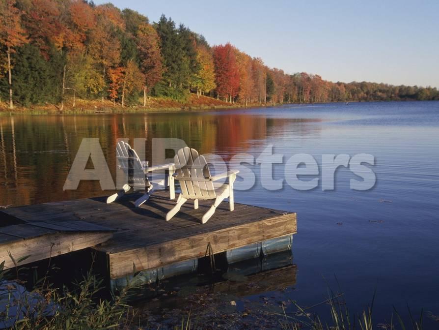 Adirondack Chairs on Dock at Lake