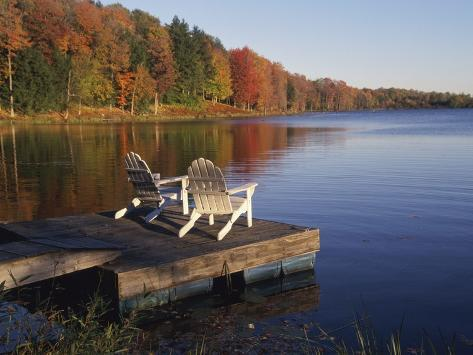 Adirondack Chairs on Dock at Lake Photographic Print