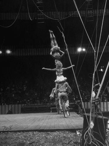 Circus Stacked Up Trio Casually Bicycling around the Board Photographic Print