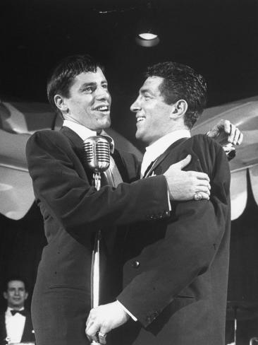 Comedian Jerry Lewis Singing with His Partner Dean Martin, at the Copacabana Premium Photographic Print