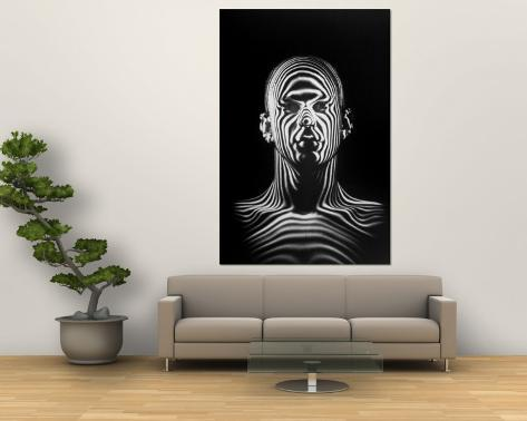 Man with Patterns of Light Covering Face and Shoulders in Air Force Study in Making Flight Helmets Wall Mural