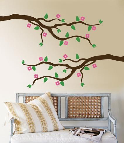 Ramo Di Ciliegio Con Fiori Rosa (Sticker Murale) Decalcomania Da