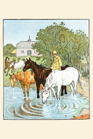 Farmer's Boy Waters His Horses Lámina