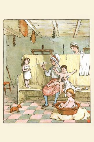 Maid Washes the Babies in the Laundry Room Lámina