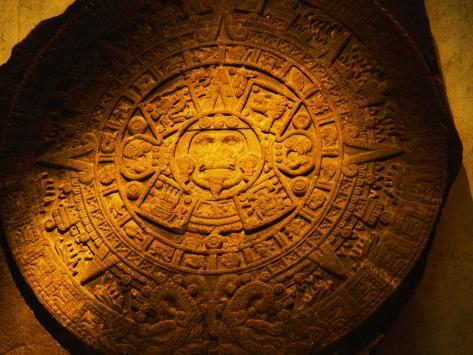 Aztec Carved Calendar Stone Photographic Print