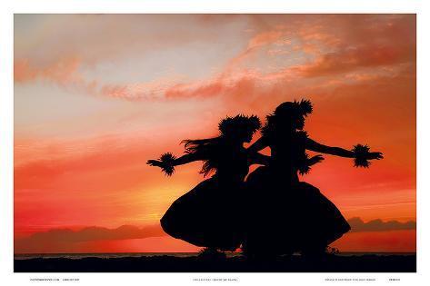 hula sisters: hawaiian hula dancers at sunset prints by randy jay, Wohnideen design