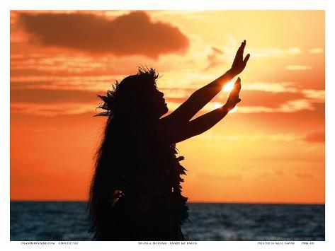 To Ask a Blessing: Hawaiian Hula Dancer at Sunset Art Print