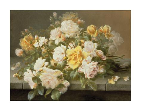Pink And Yellow Roses Premium Giclee Print