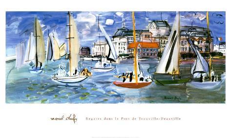 Regates Dans le Port de Trouville Art Print