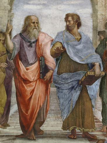 Aristotle and Plato: Detail of School of Athens, 1510-11 (Fresco) (Detail of 472) Giclee Print