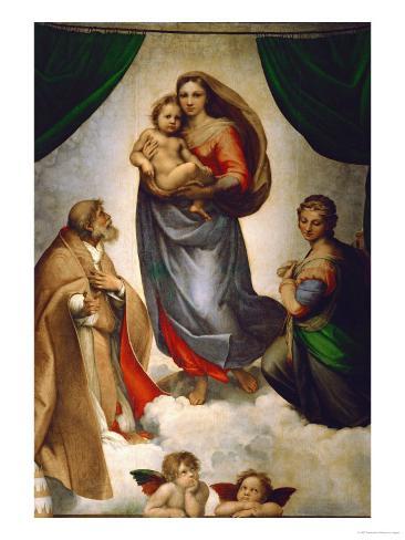 Madonna Sixtina, pintada para el Papa Julio II como su regalo a la ciudad de Plasencia, Italia, 1512-1513 Lámina giclée