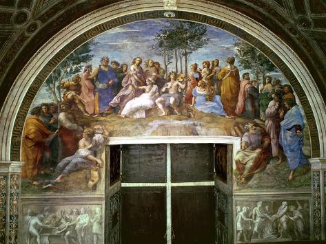 Parnassus, from the Stanza Della Segnatura, 1510-11 (Fresco) (See also 16879) Lámina giclée