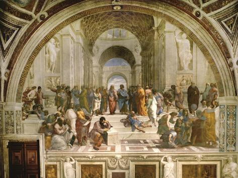 School of Athens, circa 1510-1512, One of the Murals Raphael Painted for Pope Julius II Giclée-vedos