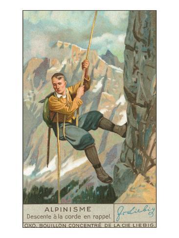 Rappel Rock Climbing Art Print