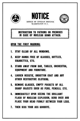 funny office poster. Rare FUNNY Warning Poster Atomic Bomb College Joke Funny Office Poster