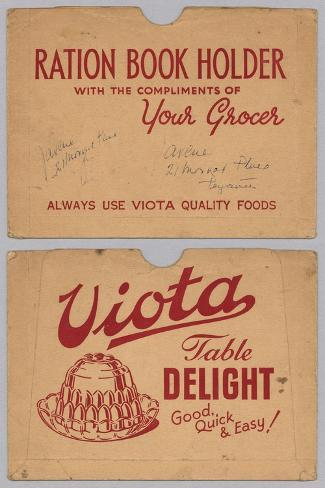Ration Book Envelope Advertising 'Viota' Table Delight, 1940-45 Giclée-vedos