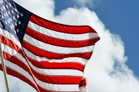 American Flag Blowing over the Clouds Photographic Print