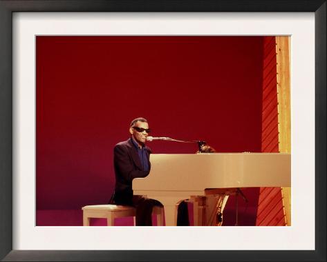 Ray Charles at White Piano Framed Art Print