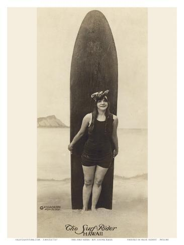 The Surf-Rider Hawaii, Girl with Surfboard, Photo Postcard c.1920 Art Print