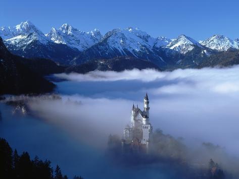 Neuschwanstein Castle Surrounded in Fog Photographic Print