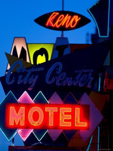 City Center Motel Sign at Dusk, Reno, Nevada Photographic Print