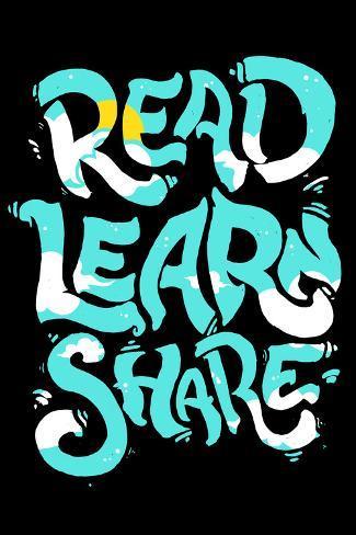 Read, learn, share (Lee, aprende, comparte) Póster