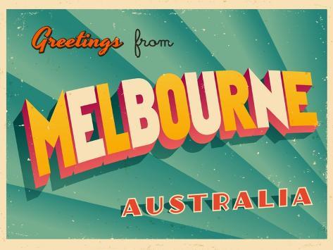 Vintage touristic greeting card melbourne australia prints by vintage touristic greeting card melbourne australia m4hsunfo