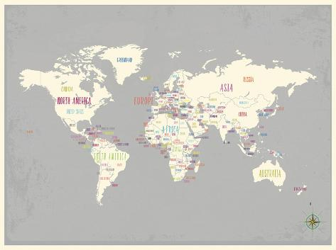 Grey world map print lminas por rebecca peragine en allposters grey world map print lmina gumiabroncs Gallery
