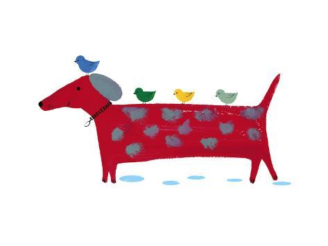 Red Dog with Birds Art Print