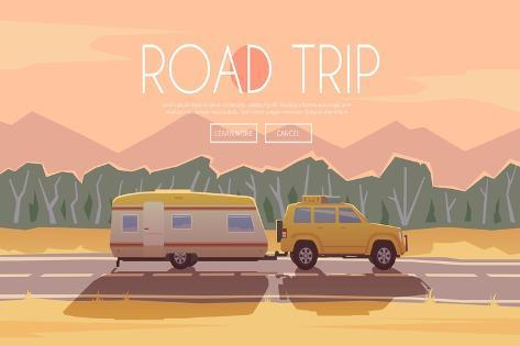 Vector Flat Web Banner on the Theme of Road Trip, Adventure, Trailering, Camping, Outdoor Recreatio Stampa artistica