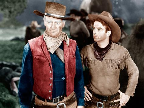 RED RIVER, from left: John Wayne, Montgomery Clift, 1948 Photo