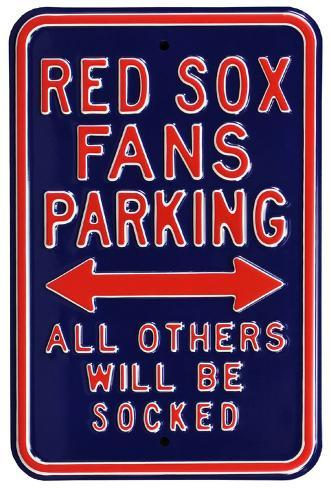 Red Sox Socked Parking Steel Sign Wall Sign