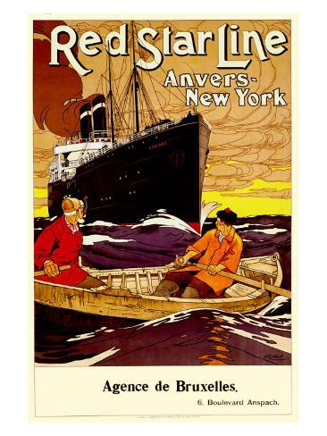 Red Star Line, Anvers to New York Giclee Print