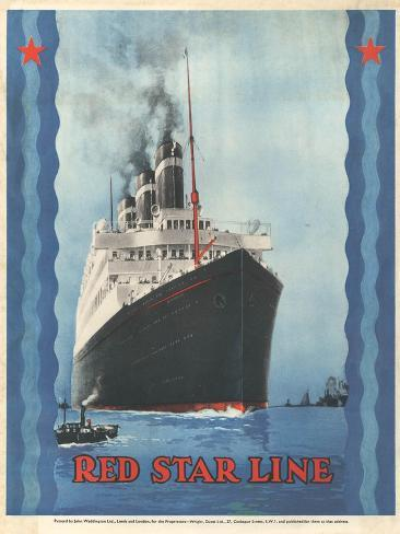 Red Star Lines, Cruise Ships, Ocean Liners, USA, 1930 Giclee Print