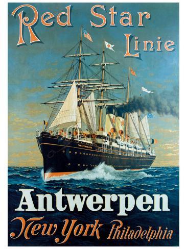 Red Star Linie: Antwerpen, New York, Philadelphia Giclee Print