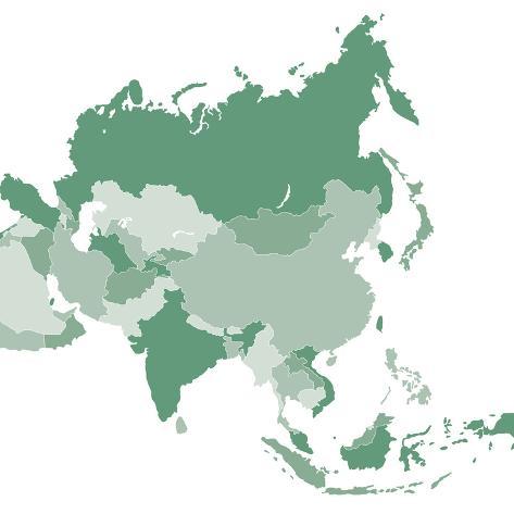 Asia Vector Map Art Print