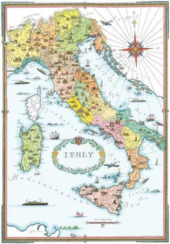 Regions Italy Map.Regions Of Italy Map Poster At Allposters Com