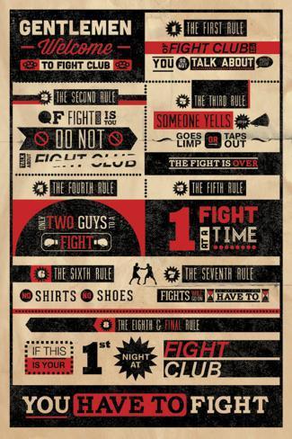 Reglas del Club de la lucha, en inglés, Infografía Póster
