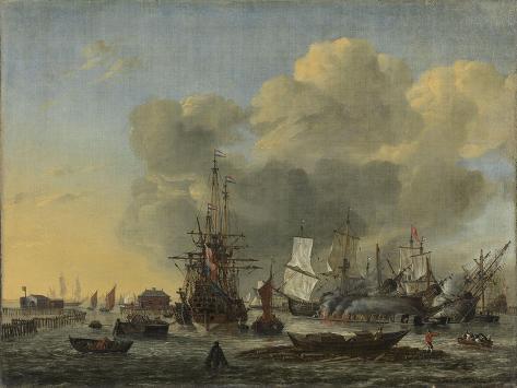 Caulking of Ships at the Bothuisje on Het Ij in Amsterdam Art Print