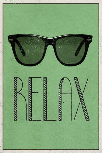 Relax Retro Sunglasses Art Poster Print Poster