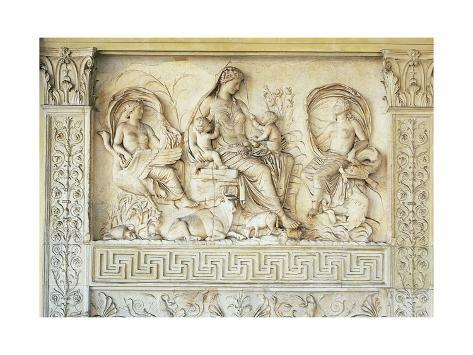 Relief Depicting Goddess Tellus, Two Children and Two Women Symbolizing Fertility Giclee Print