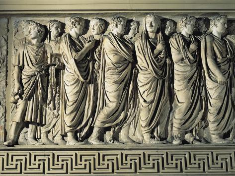 Relief Depicting Procession of Priests and Court, on Ara Pacis Augustae Giclee Print